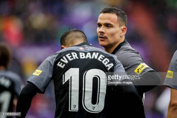 Ever Banega of Sevilla FC Roque Mesa of Sevilla FC celebrates goal 10 during the La Liga Santander match between Real Valladolid v Sevilla at the...