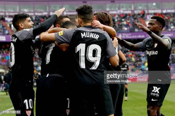 Ever Banega of Sevilla FC Roque Mesa of Sevilla FC Munir of Sevilla FC Quincy Promes of Sevilla FC celebrate goal during the La Liga Santander match...