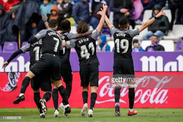 Ever Banega of Sevilla FC Roque Mesa of Sevilla FC Quincy Promes of Sevilla FC Bryan of Sevilla FC Munir of Sevilla FC celebrates goal 20 during the...
