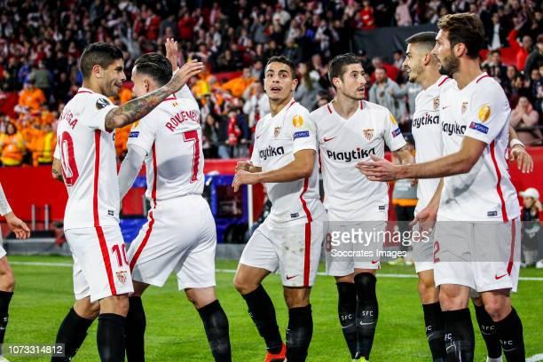 Ever Banega of Sevilla FC Roque Mesa of Sevilla FC Wissam Ben Yedder of Sevilla FC Escudero of Sevilla FC Andre Silva of Sevilla FC Franco Vazquez of...