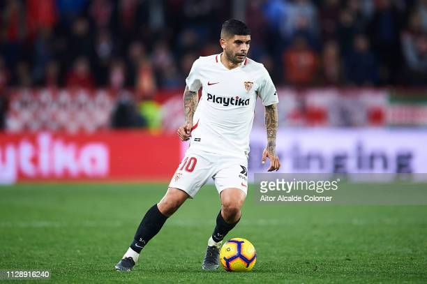 Ever Banega of Sevilla FC runs with the ball during the La Liga match between Sevilla FC and SD Eibar at Estadio Ramon Sanchez Pizjuan on February 10...