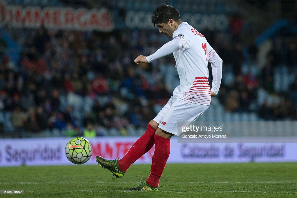 Ever Banega of Sevilla FC scores their opening goal during the La Liga match between Getafe CF and Sevilla CF at Coliseum Alfonso Perez on March 5, 2016 in Getafe, Spain.