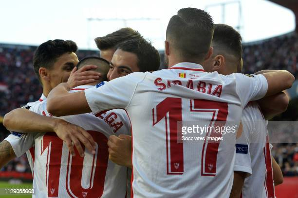 Ever Banega of Sevilla FC Wissam Ben Yedder of Sevilla FC Pablo Sarabia of Sevilla FC celebrate goal during the UEFA Europa League match between...