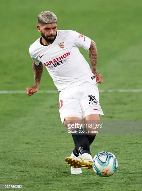 Ever Banega of Sevilla in action during the Liga match between Sevilla FC and Real Valladolid CF at Estadio Ramon Sanchez Pizjuan on June 26, 2020 in...