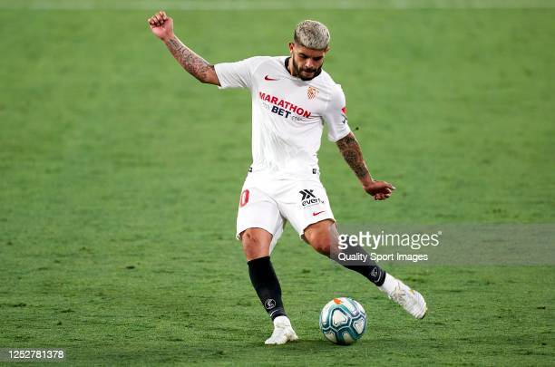 Ever Banega of Sevilla in action during the Liga match between Sevilla FC and Real Valladolid CF at Estadio Ramon Sanchez Pizjuan on June 26 2020 in...