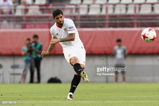 Ever Banega of Sevilla in action during the preseason friendly match between Kashima Antlers and Sevilla FC at Kashima Soccer Stadium on July 22 2017...