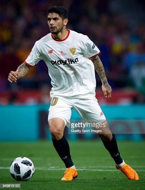 Ever Banega of Sevilla in action during the Spanish Copa del Rey Final match between Barcelona and Sevilla at Wanda Metropolitano on April 21 2018 in...