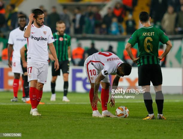 Ever Banega of Sevilla is seen before a penalty kick during UEFA Europa League Group J soccer match between Akhisarspor and Sevilla at Spor Toto...