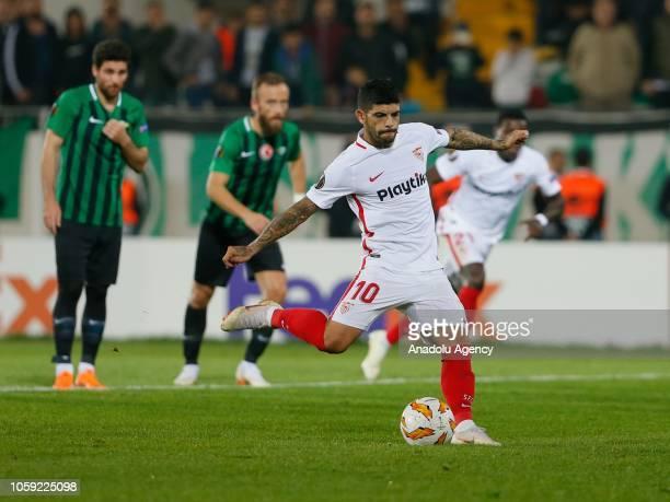 Ever Banega of Sevilla kicks a penalty during UEFA Europa League Group J soccer match between Akhisarspor and Sevilla at Spor Toto Akhisar Stadium in...