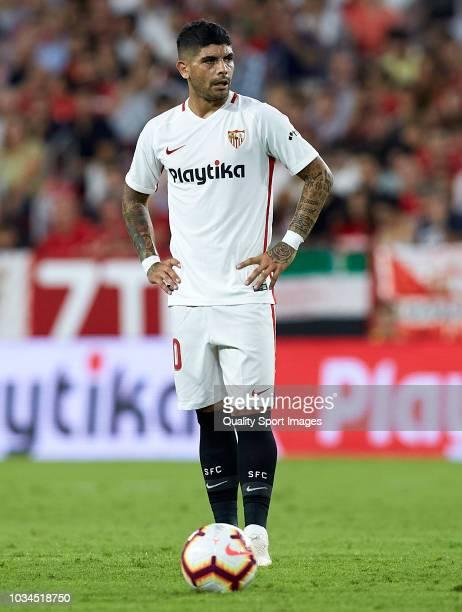 Ever Banega of Sevilla looks on during the La Liga match between Sevilla FC and Getafe CF at Estadio Ramon Sanchez Pizjuan on September 16 2018 in...