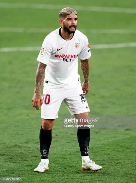 Ever Banega of Sevilla looks on during the Liga match between Sevilla FC and Real Valladolid CF at Estadio Ramon Sanchez Pizjuan on June 26 2020 in...