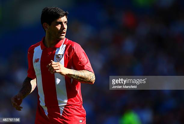 Ever Banega of Sevilla looks on during the Pre Season Friendly between Brighton Hove Albion and Seville at Amex Stadium on August 2 2015 in Brighton...