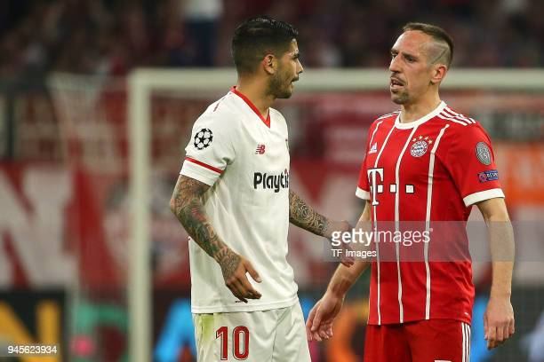 Ever Banega of Sevilla speaks with Franck Ribery of Muenchen during the UEFA Champions League quarter final second leg match between Bayern Muenchen...