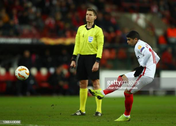 Ever Banega of Sevilla takes a free kick during the UEFA Europa League Group J match between Royal Standard de Liege and Sevilla at Stade Maurice...