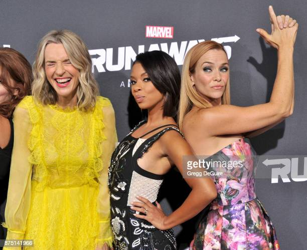Ever Carradine Angel Parker and Annie Wersching arrive at the premiere of Hulu's Marvel's Runaways at Regency Bruin Theatre on November 16 2017 in...