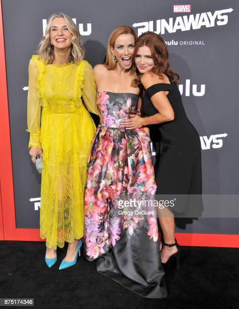 Ever Carradine Annie Wersching and Brigid Brannagh arrive at the premiere of Hulu's Marvel's Runaways at Regency Bruin Theatre on November 16 2017 in...