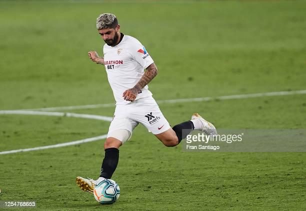 Ever Maximiliano Banega of Sevilla FC in action during the Liga match between Sevilla FC and SD Eibar SAD at Estadio Ramon Sanchez Pizjuan on July 06...