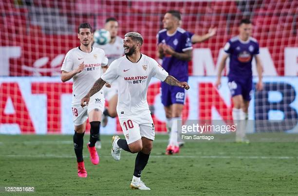 Ever Maximiliano Banega of Sevilla FC reacts after the goal scored by Lucas Ocampos of Sevilla FC during the Liga match between Sevilla FC and Real...