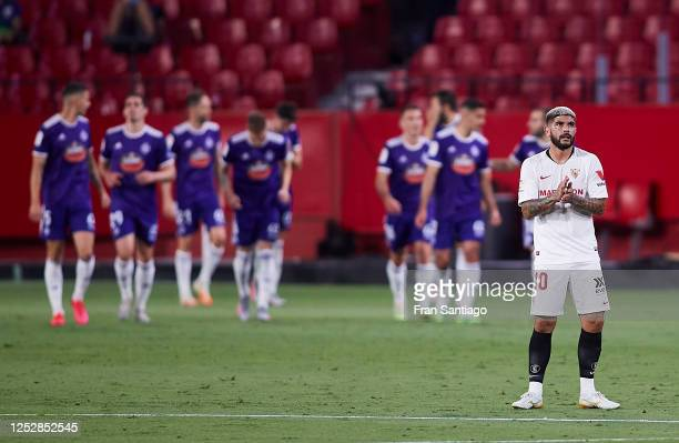 Ever Maximiliano Banega of Sevilla FC reacts after the goal scored by Kiko Olivas of Valladolid CF during the Liga match between Sevilla FC and Real...