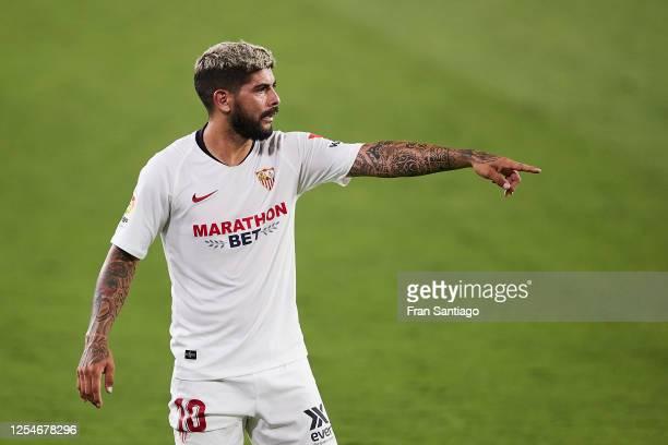 Ever Maximiliano Banega of Sevilla FC reacts during the Liga match between Sevilla FC and SD Eibar SAD at Estadio Ramon Sanchez Pizjuan on July 06...
