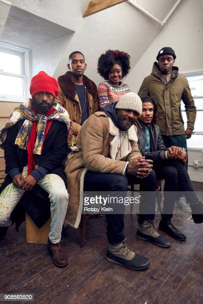 Everaldo Creary Aml Ameen Shantol Jackson Idris Elba Sheldon Shepherd and Fraser James from the film 'Yardie' pose for a portrait in the YouTube x...