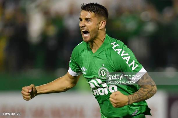 Everaldo of Brazil's Chapecoense celebrates his goal against Chile's Union La Calera during their 2019 Copa Sudamericana football match held at Arena...