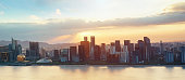 Ever-developing Jianggang skyline and Qianjiang River in Hangzhou, Zhejiang, China, Asia