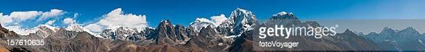 Everest mega panorama Himalaya peaks remote snow capped summits Nepal