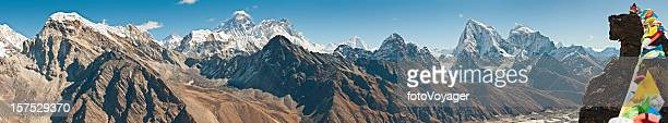 Everest prayer flags peaks pinnacles Sagarmatha Khumbu Himalaya panorama Nepal
