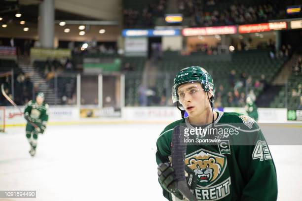 Everett Silvertips center Connor Dewar heads to the locker room after warmups before a game between the Spokane Chiefs and the Everett Silvertips on...