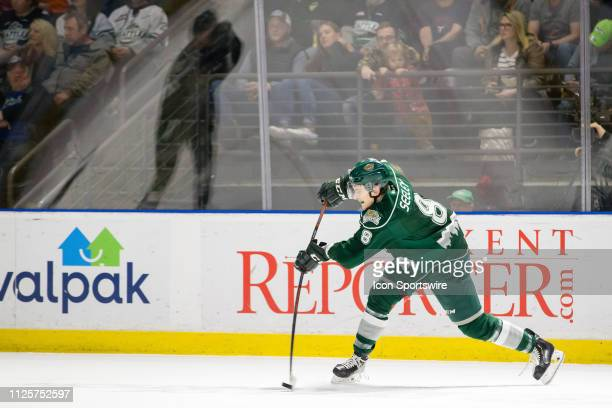 Everett Silvertips defenseman Ronan Seeley gets a shot on goal in the second period during a game between the Seattle Thunderbirds and the Everett...