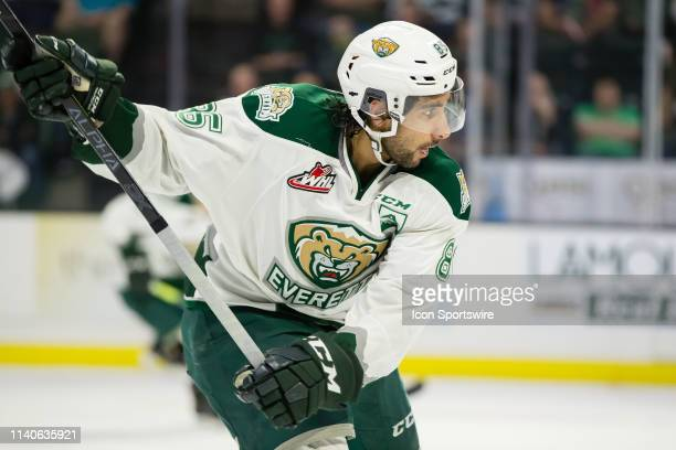 Everett Silvertips defenseman Sahvan Khaira winds up to shoot the puck during Game 5 of the divisional playoff series between the Everett Silvertips...