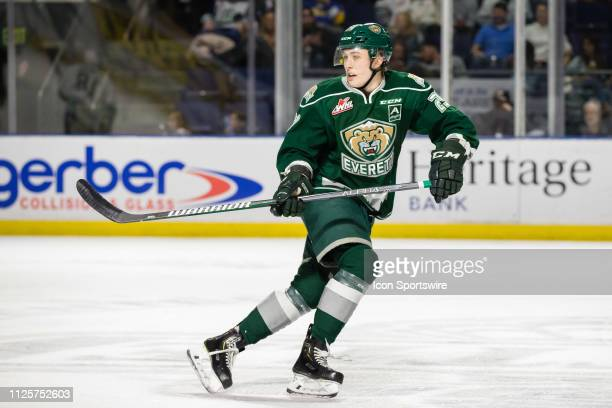 Everett Silvertips defenseman Wyatte Wylie retreats on defense in the second period during a game between the Seattle Thunderbirds and the Everett...