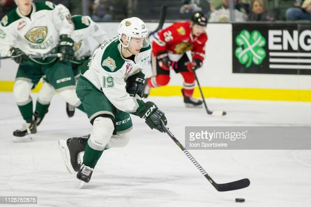 Everett Silvertips forward Bryce Kindopp carries the puck out of danger in the first period of a game between the Everett Silvertips and the Portland...