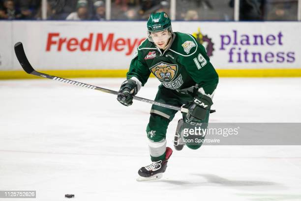 Everett Silvertips forward Bryce Kindopp carries the puck up the ice in the third period during a game between the Seattle Thunderbirds and the...