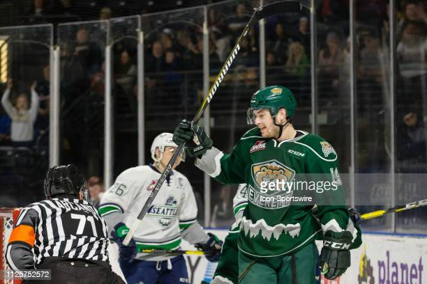 Everett Silvertips forward Bryce Kindopp celebrates his first period goal during a game between the Seattle Thunderbirds and the Everett Silvertips...