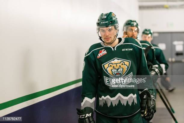 Everett Silvertips forward Bryce Kindopp heads out to the ice from the locker room before a game between the Seattle Thunderbirds and the Everett...