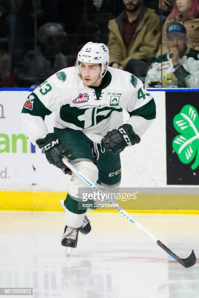 Everett Silvertips forward Connor Dewar skates up the ice during the first period in Game 5 of the second round of the Western Hockey League playoffs...