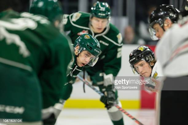 Everett Silvertips forward Gage Goncalves prepares to take a face off against Portland Winterhawks forward Lane Gillis at center ice during a game...
