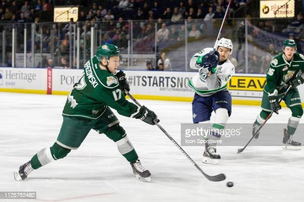 Everett Silvertips forward Jackson Berezowski gets a shot off on goal during the first period of a game between the Seattle Thunderbirds and the...