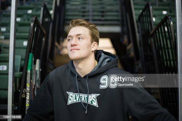 Everett Silvertips forward Robbie Holmes looks out at the ice before a game between the TriCity Americans and the Everett Silvertips on Friday...