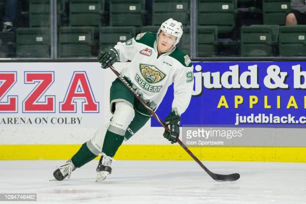 Everett Silvertips forward Robbie Holmes takes some turns in warmups before a game between the TriCity Americans and the Everett Silvertips on Friday...