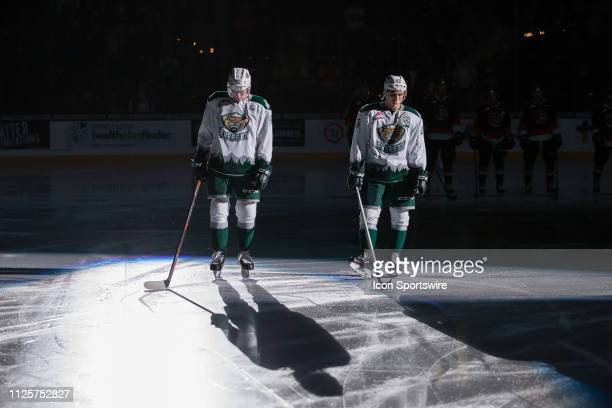 Everett Silvertips forwards Robbie Holmes and Connor Dewar are introduced to the crowd before a game between the Everett Silvertips and the Medicine...