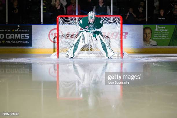 Everett Silvertips goaltender Carter Hart is introduced to the crowd before a game between the Spokane Chiefs and the Everett Silvertips on Friday...