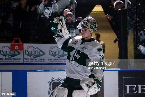 Everett Silvertips goaltender Carter Hart waves to the crowd after being named one of the stars in Game 2 of the second round of the Western Hockey...