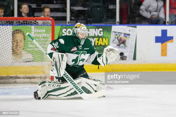 Everett Silvertips goaltender Dustin Wolf warms up before a game between the Vancouver Giants and the Everett Silvertips on Saturday November 25 2017...