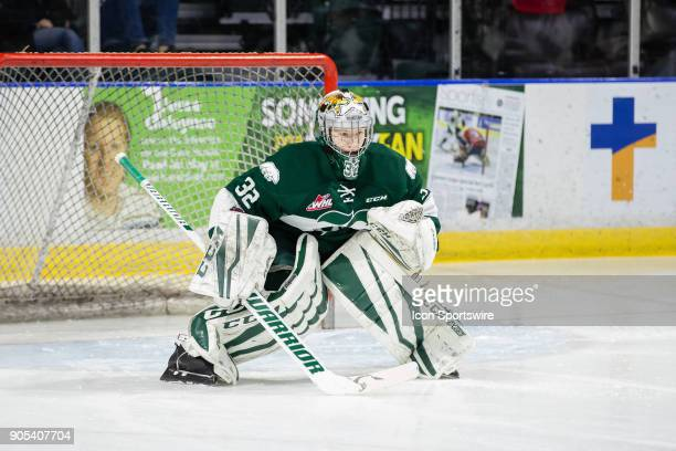 Everett Silvertips goaltender Dustin Wolf warms up before a game between the Everett Silvertips and the Prince George Cougars on December 16 2017 at...