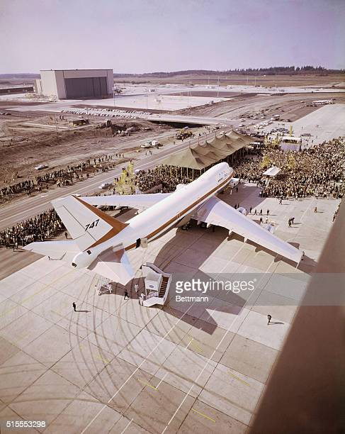 The world's largest jetliner the Boeing 747 is rolled out for public view The $20 million plane which will carry 490 passengers will be delivered to...