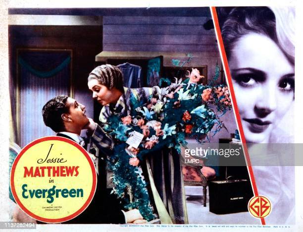 Evergreen lobbycard from left Ivor McLaren Jessie Matthews 1934
