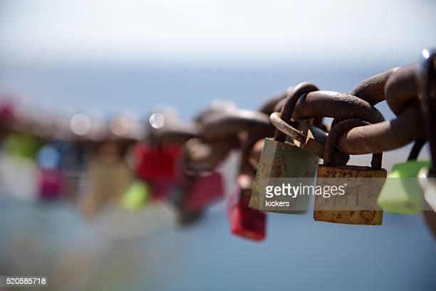 Everlasting love symbolized with rusty padlocks